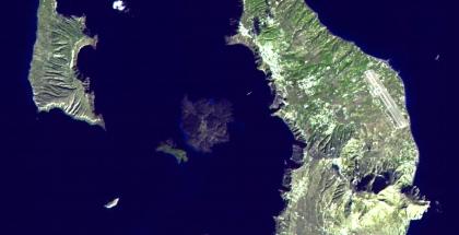 Imagen satelital de la Isla de SantoriniAutor