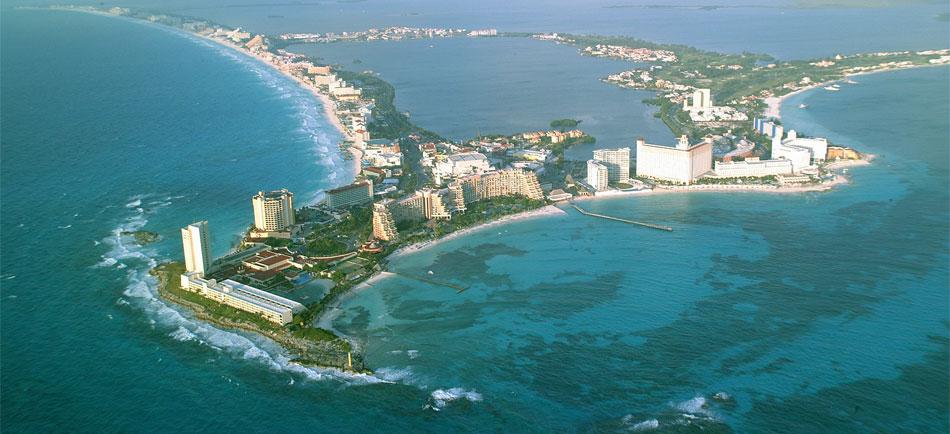 Vista aérea de Cancún